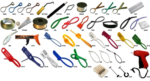 A selection of Cable Ties, Security Seals, Twist Ties and Wire Ties